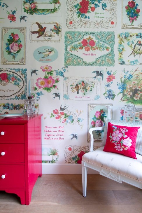 Keuken Behang 2014 : Wallpaper Antique Postcards
